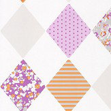 Caselio Diamond Orange and Lilac Wallpaper