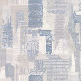 Jane Churchill Cityscape Silver / Blue Wallpaper - Product code: J171W-03