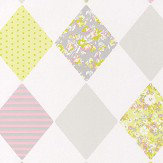 Caselio Diamond Chartreuse and Pink Wallpaper