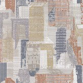 Jane Churchill Cityscape Grey / Copper Wallpaper