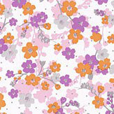 Caselio Lily Lilac and Orange Wallpaper