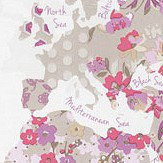 Caselio World Map Pink and Beige Wallpaper