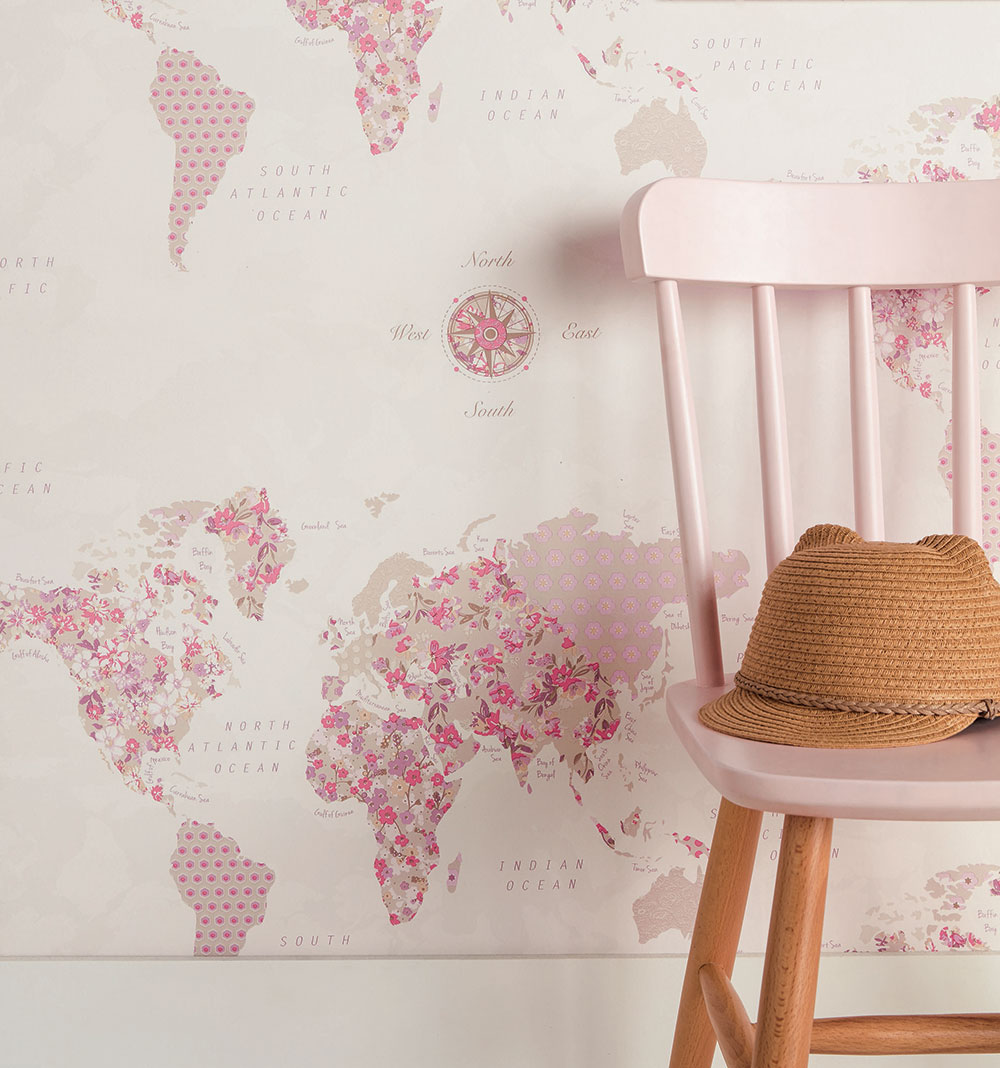 World map by caselio pink and beige wallpaper direct caselio world map pink and beige wallpaper extra image gumiabroncs Choice Image