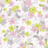 Caselio Lily Chartreuse, Pink and Grey Wallpaper