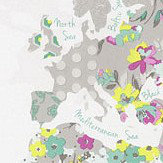 Caselio World Map Spearmint, Chartreuse and Pink Wallpaper
