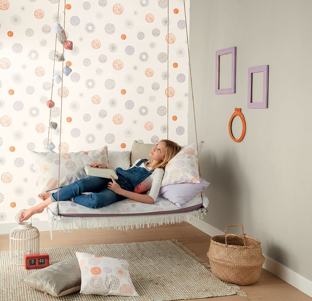 Graphic Circle Wallpaper - Orange and Lilac - by Caselio