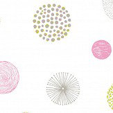 Caselio Graphic Circle Chartreuse and Pink Wallpaper - Product code: PRLI 6924 40 77