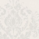 Casadeco Damask Motif White and Silver Wallpaper