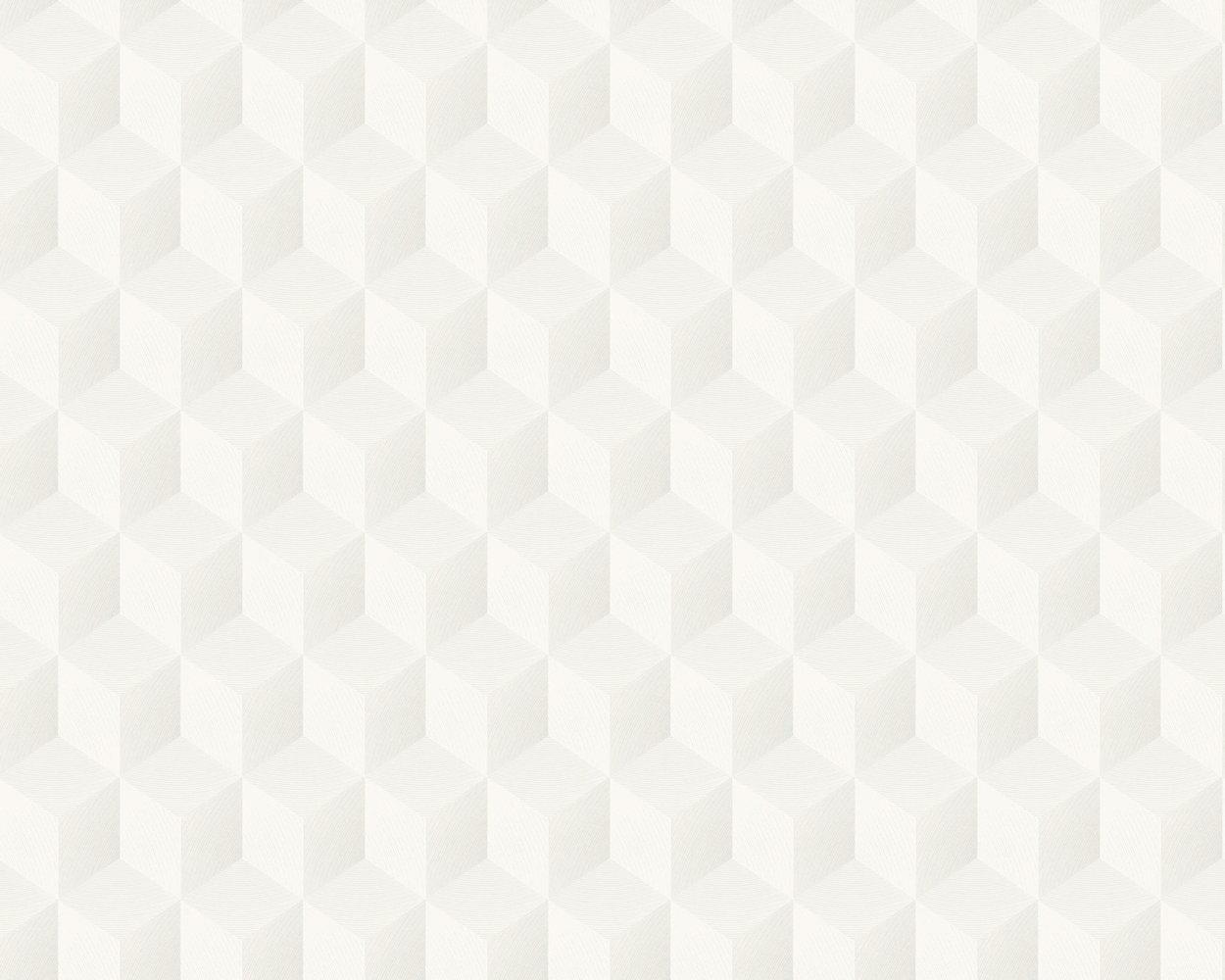82e61e37e89fe Cube 3D by Casadeco - Shimmering White - Wallpaper - SOWH 2835 01 09