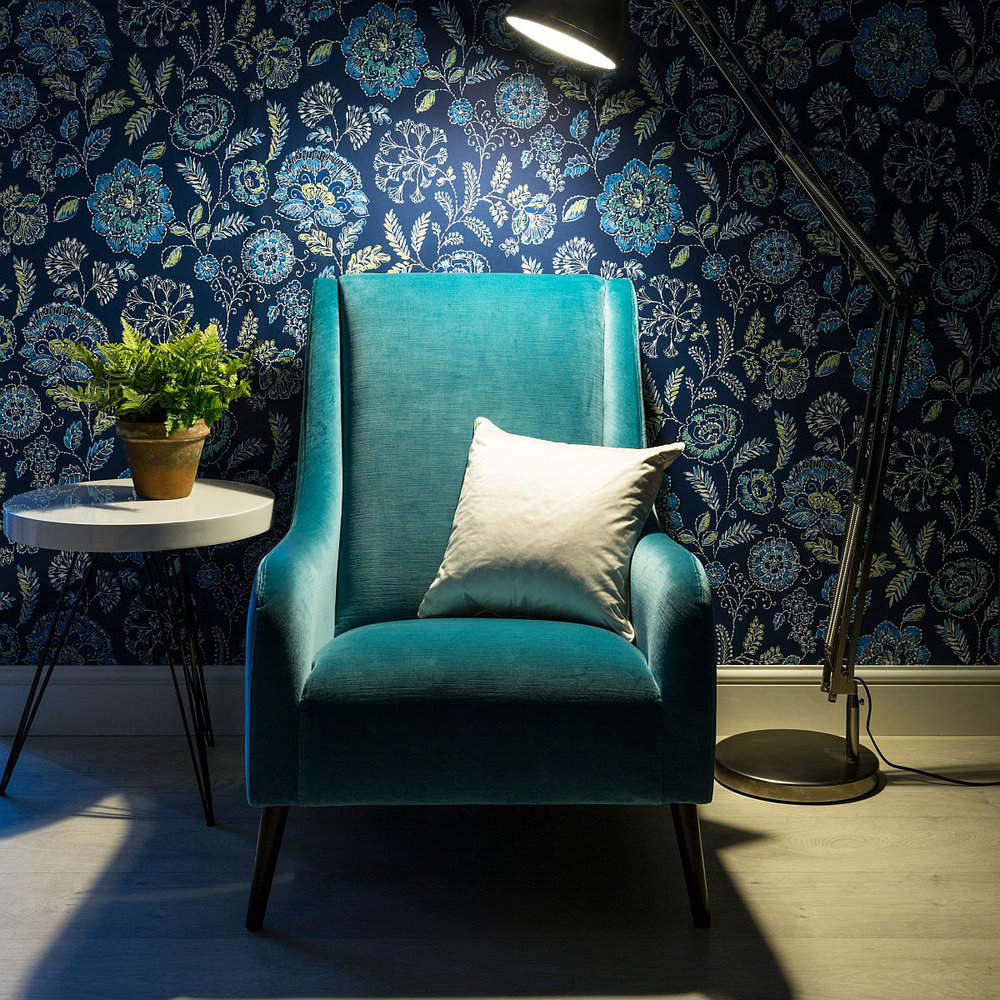 Tropez Floral Wallpaper - Dark Blue - by Albany