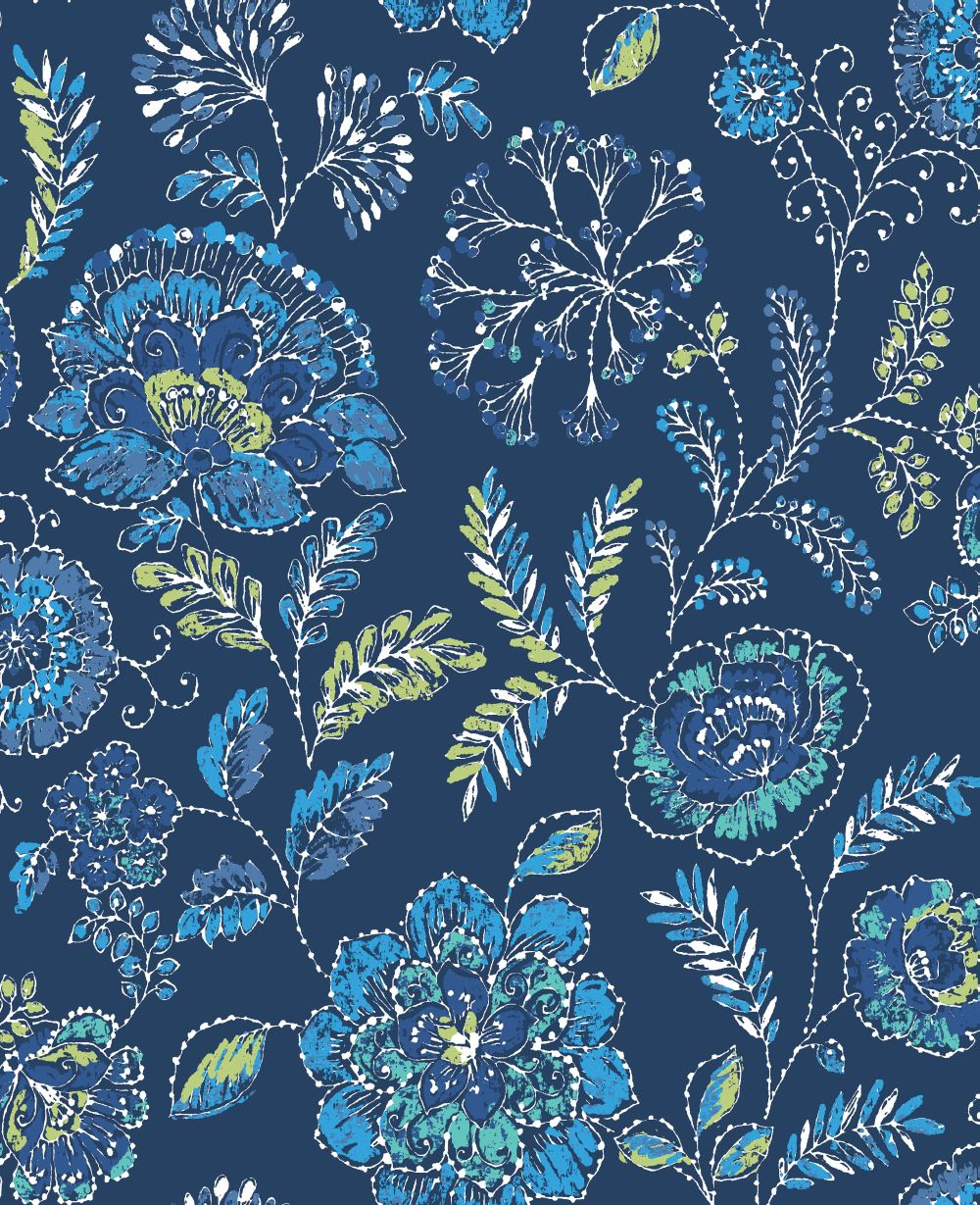 Albany Tropez Floral Dark Blue Wallpaper Main Image