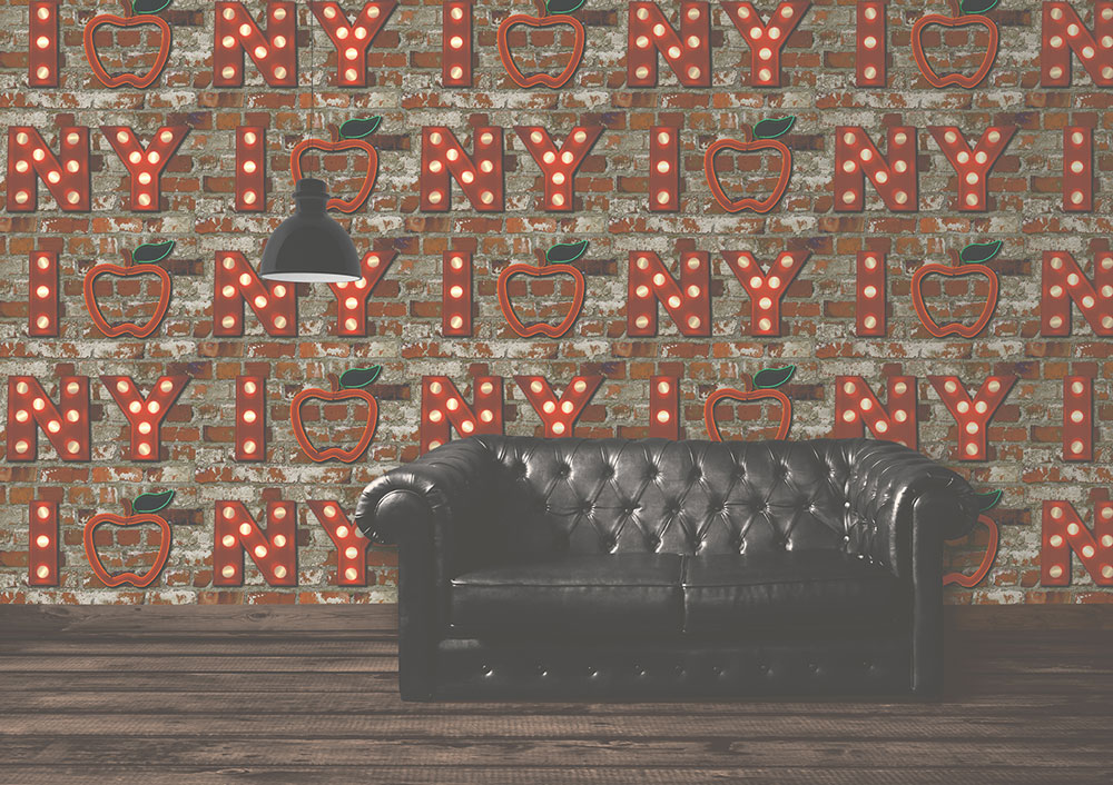 Albany I Apple NY Brick Red Wallpaper - Product code: 102536