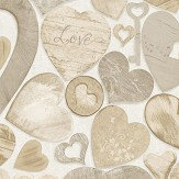 Albany Wooden Hearts Brown Wallpaper