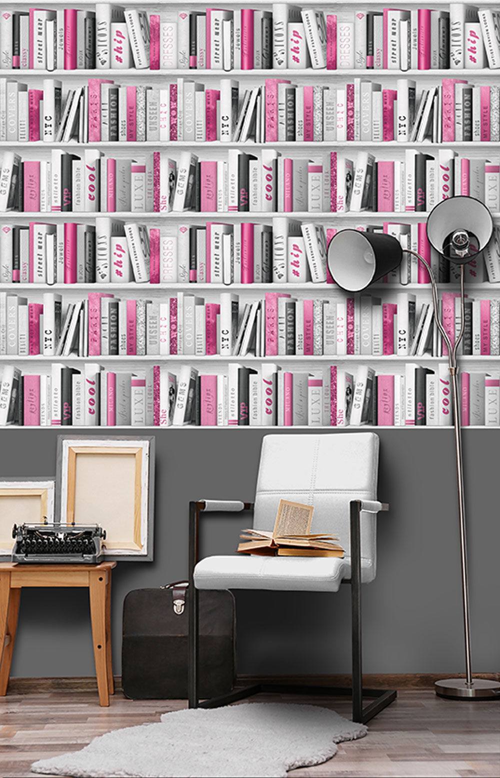 Fashion Library Wallpaper - Hot Pink - by Albany