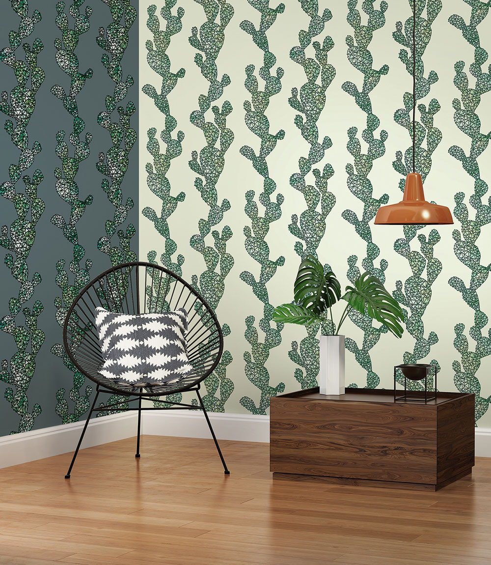 Albany Mexican Cactus Green and Grey Wallpaper - Product code: 32799-3