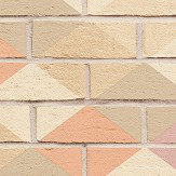 Albany Harlequin Brick Pink, Peach and Taupe Wallpaper