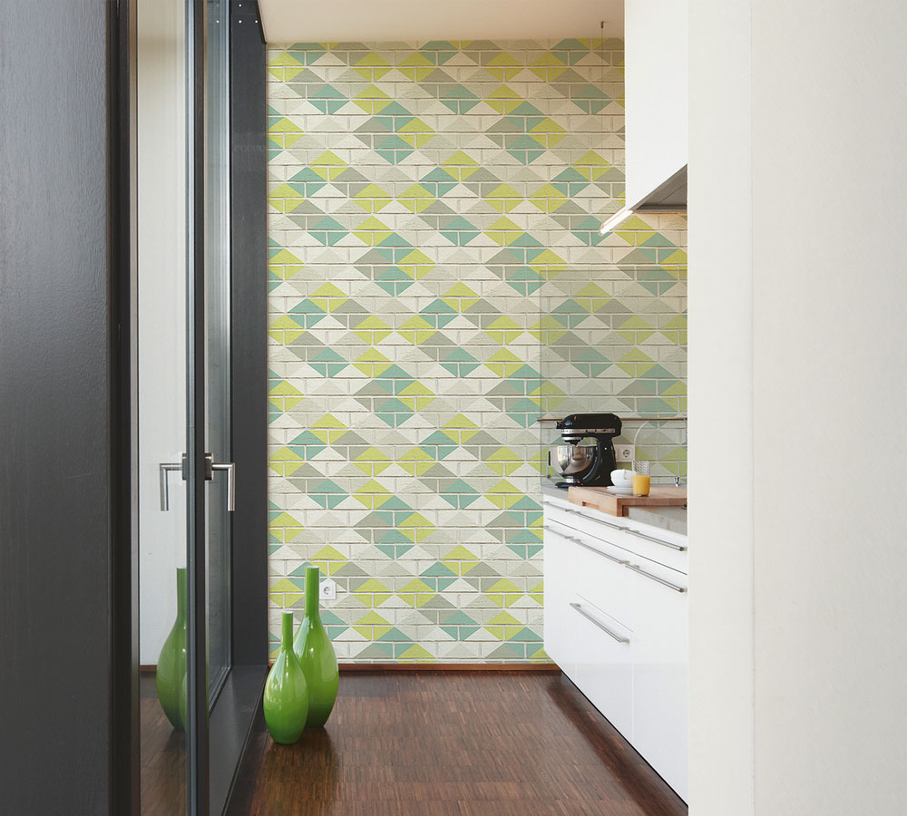 Albany Harlequin Brick Mint Pastel Wallpaper - Product code: 33088-4
