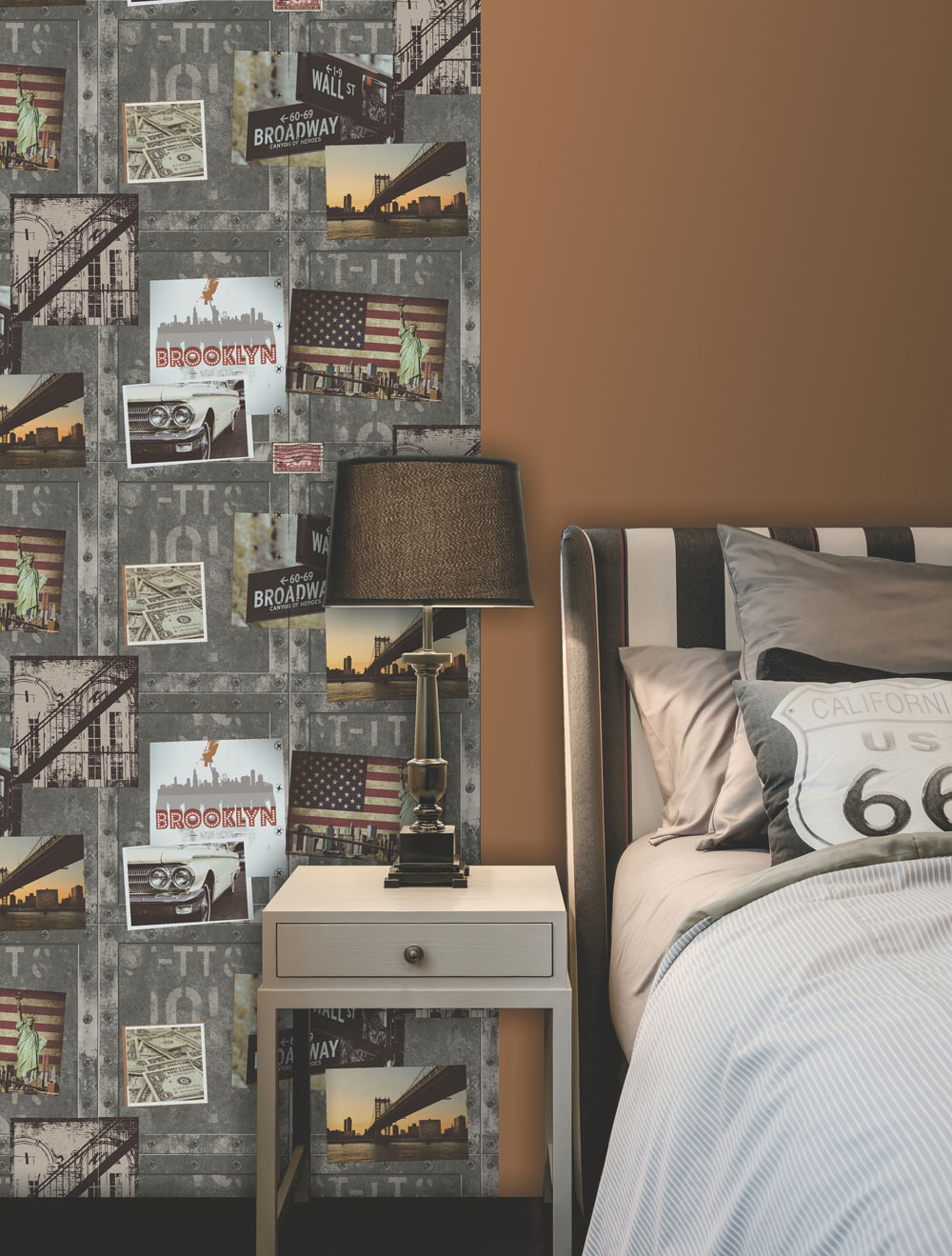 Albany Brooklyn Metal Wallpaper - Product code: A04309M
