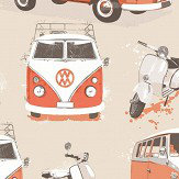 Albany Vans and Scooters Orange Wallpaper