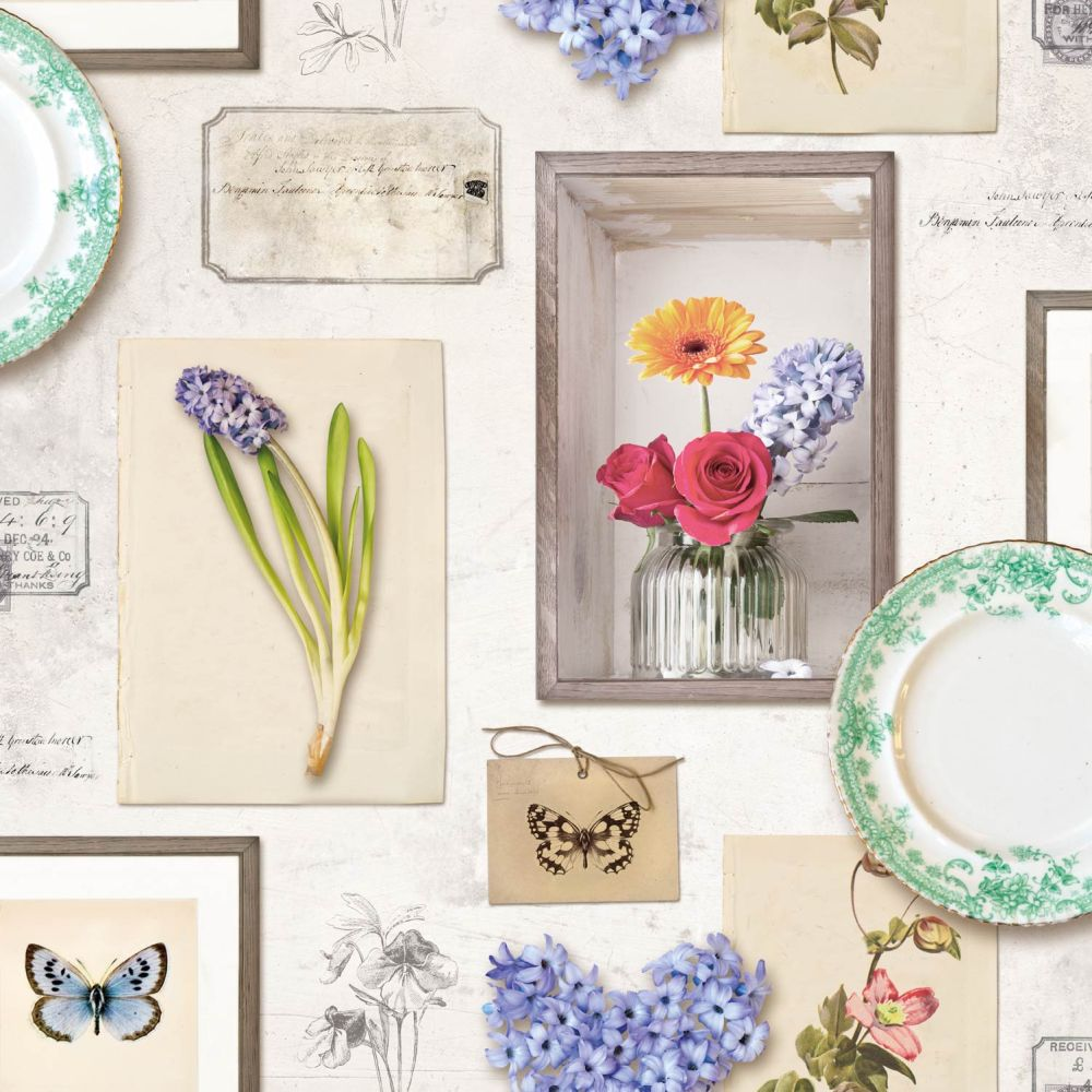 Albany Floral Frame Cream and Multi Wallpaper - Product code: L21307