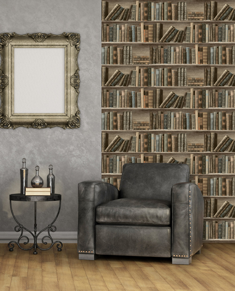 Antique Shelf Wallpaper - Sepia / Blue - by Albany