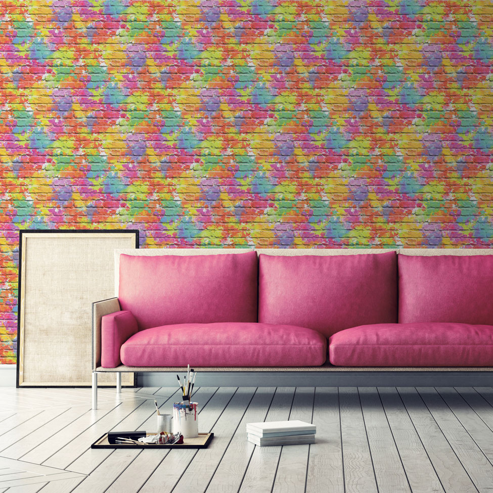 Graffiti Wall Wallpaper - Multicoloured  - by Albany