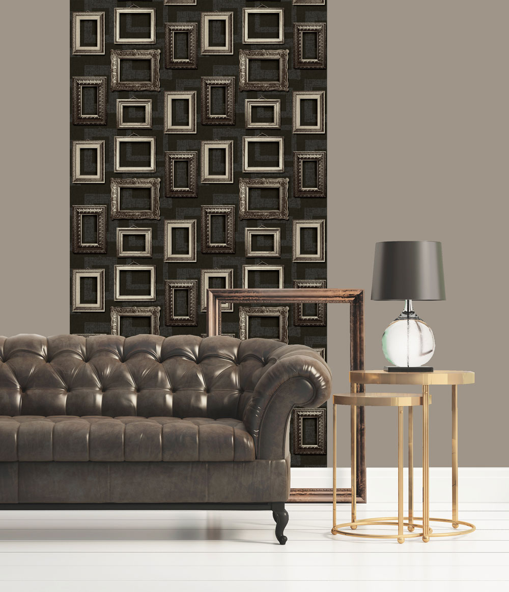 Framed Wallpaper - Black - by Albany