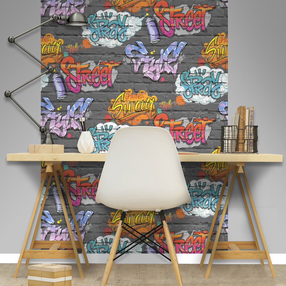 Graffiti Tag Wallpaper - Black - by Albany