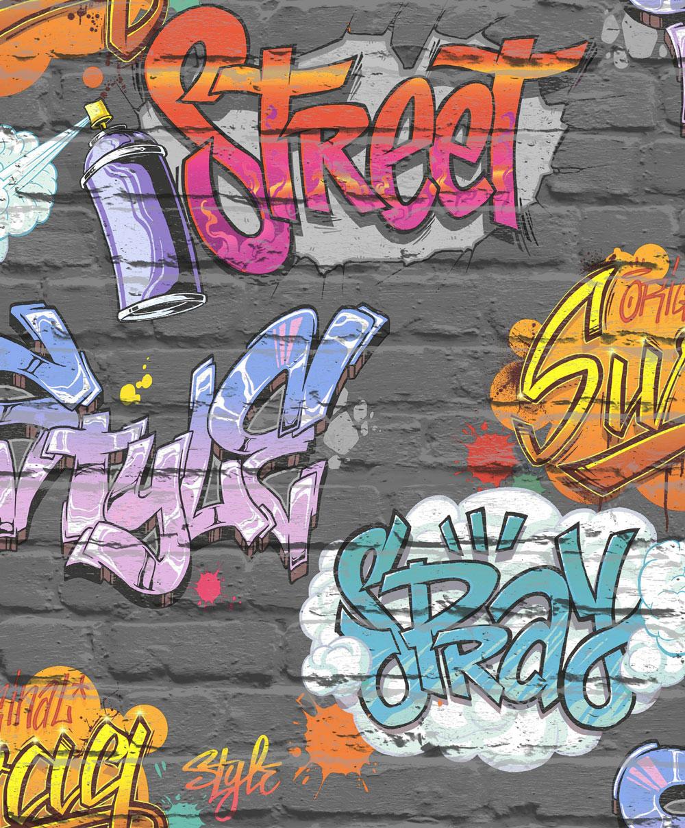 Albany Graffiti Tag Black Wallpaper Main Image