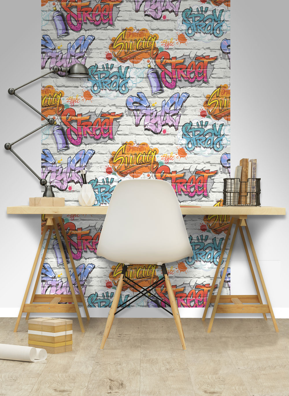 Graffiti Tag Wallpaper - White - by Albany