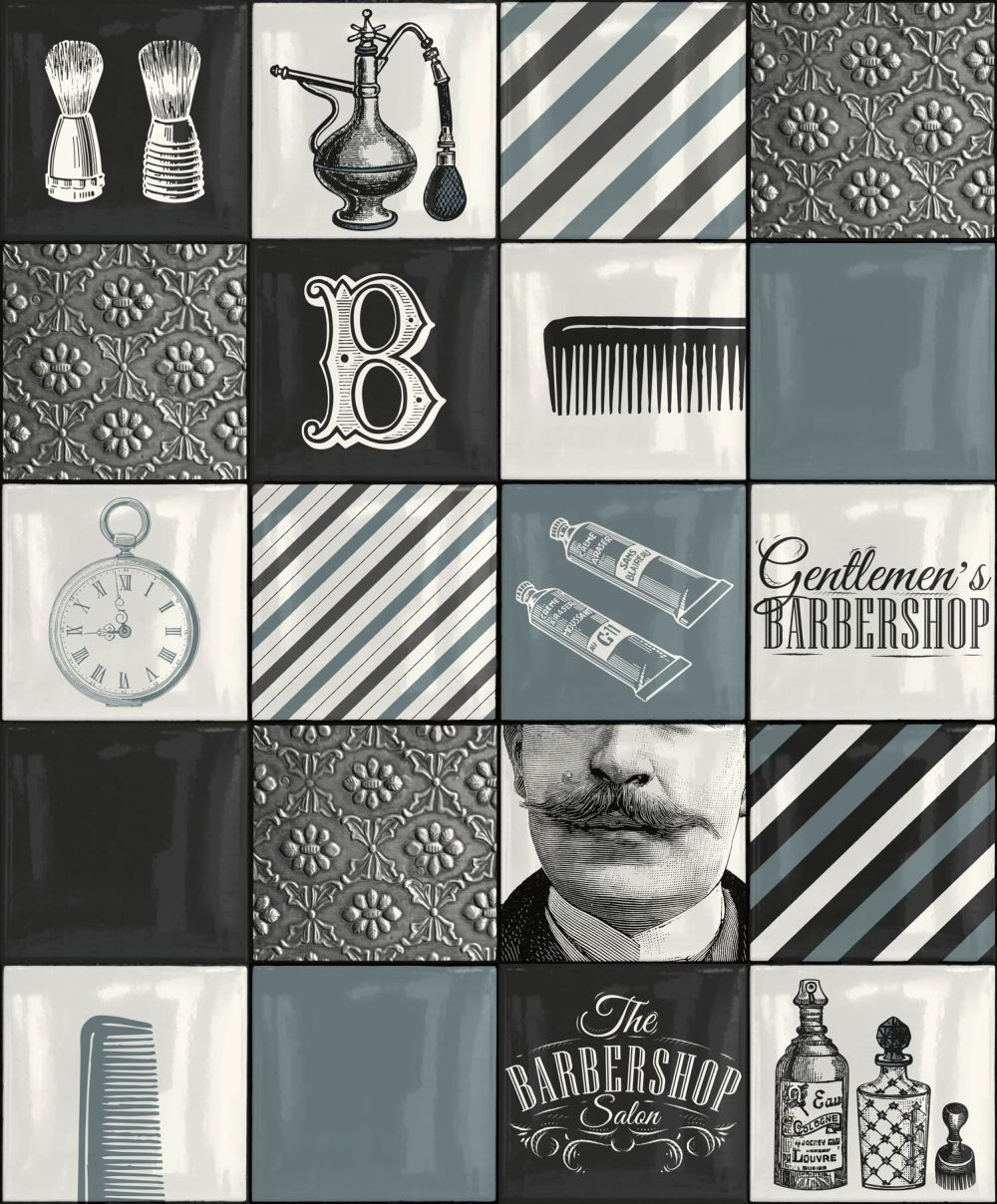 Albany Barber Shop Tile Blue Wallpaper main image