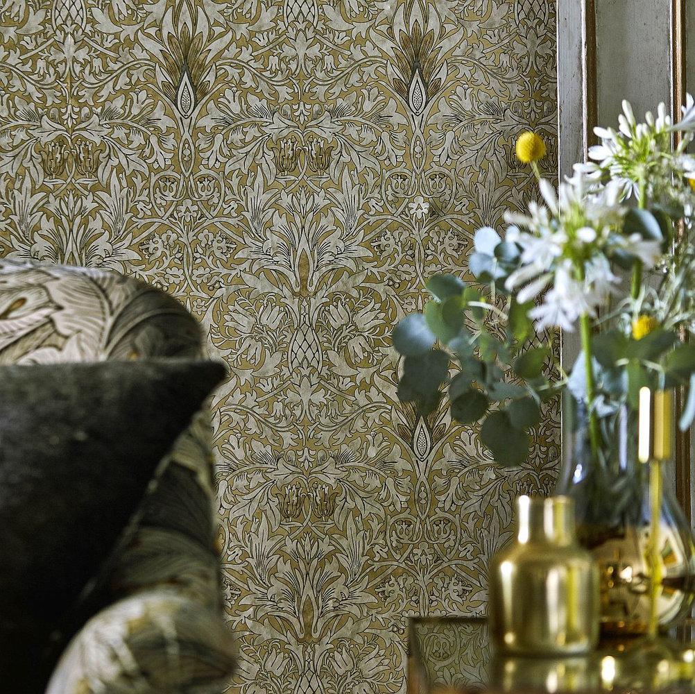 Snakeshead Wallpaper - Gold / Linen - by Morris