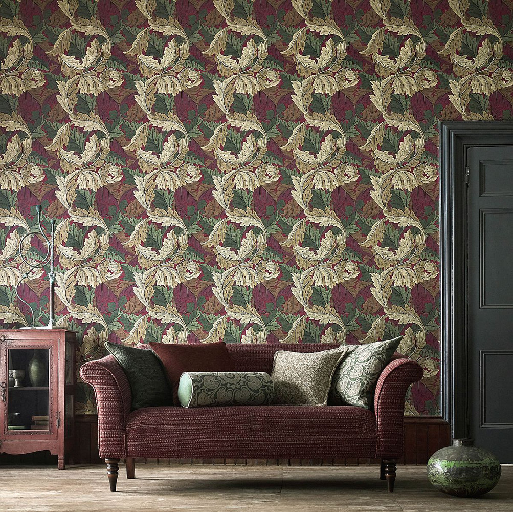 Morris Acanthus Madder / Thyme Wallpaper - Product code: 216439