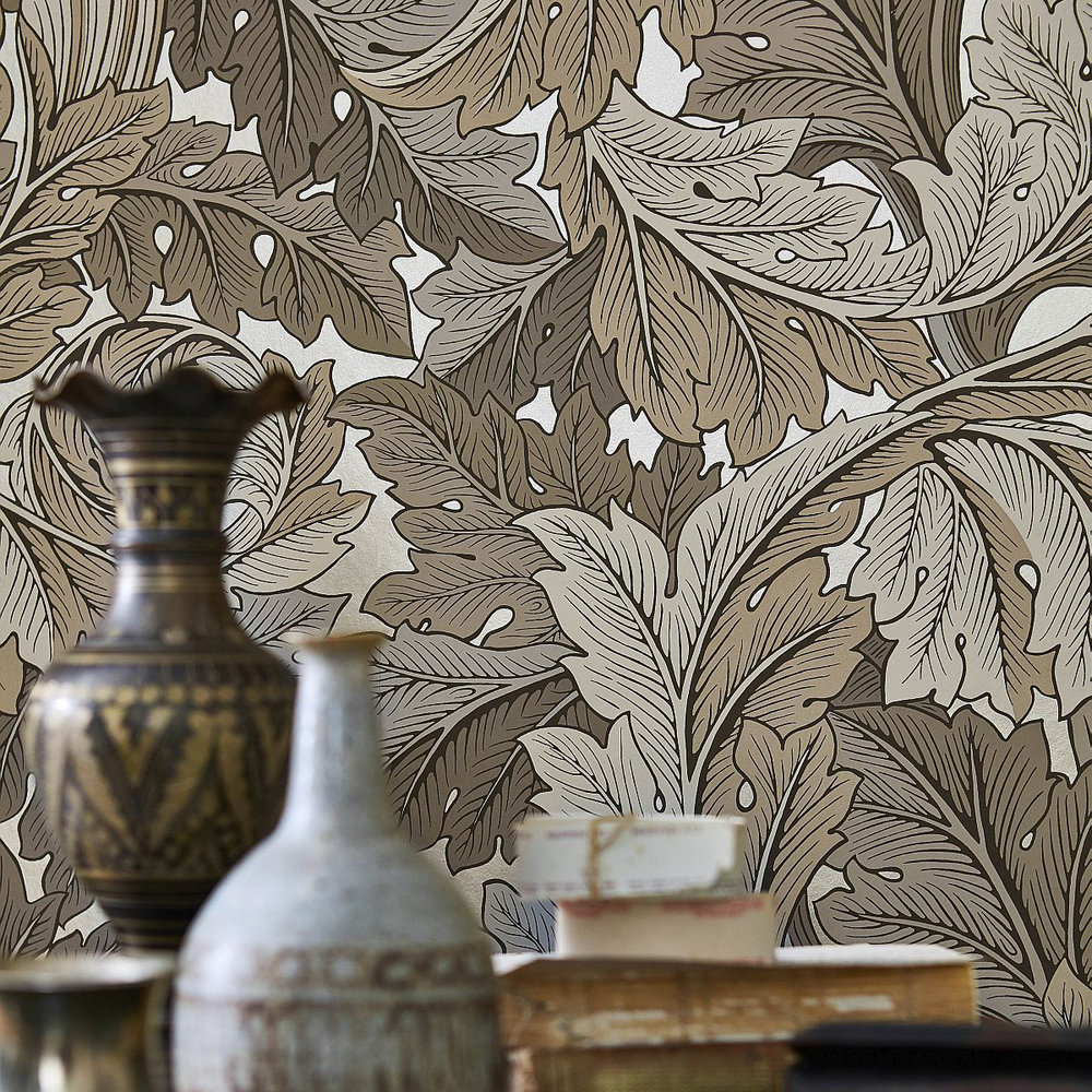 Acanthus Wallpaper - Manilla / Stone - by Morris