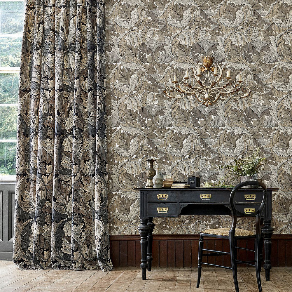 Morris Acanthus Manilla / Stone Wallpaper extra image