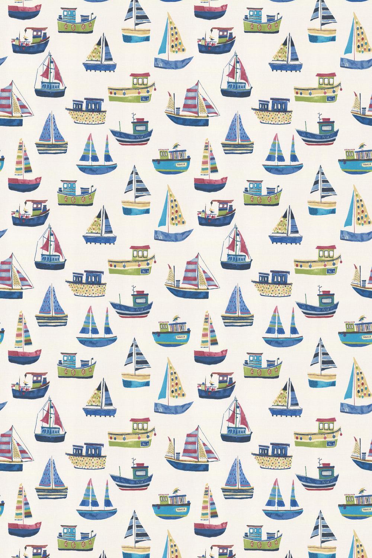 Boat Club Fabric - Cobalt - by Prestigious