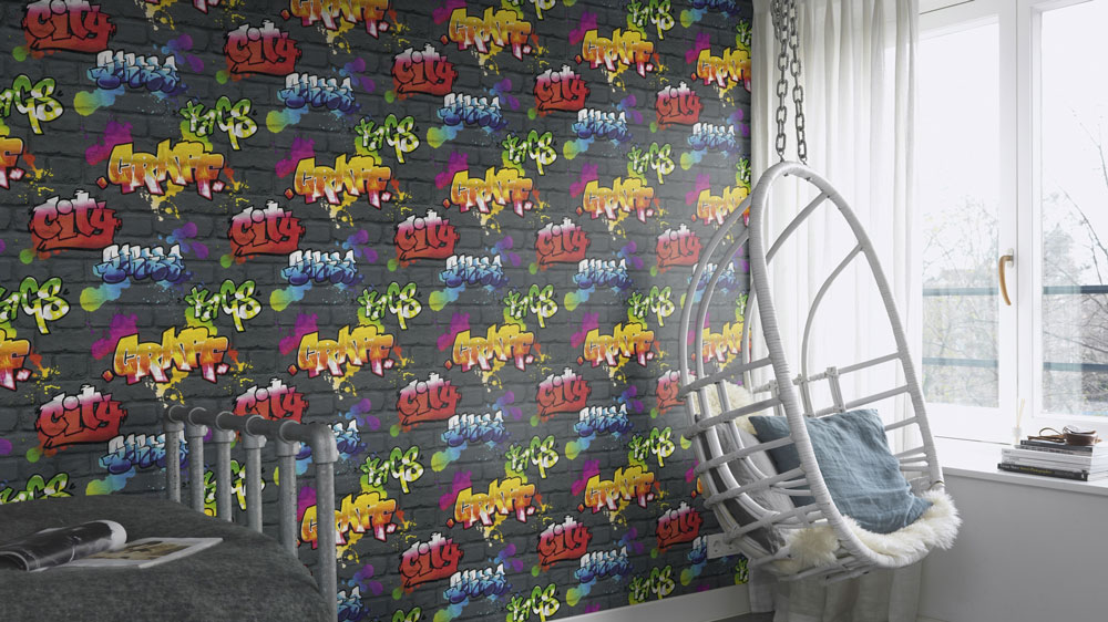 Albany Urban wall Black and Multi Wallpaper - Product code: 237801