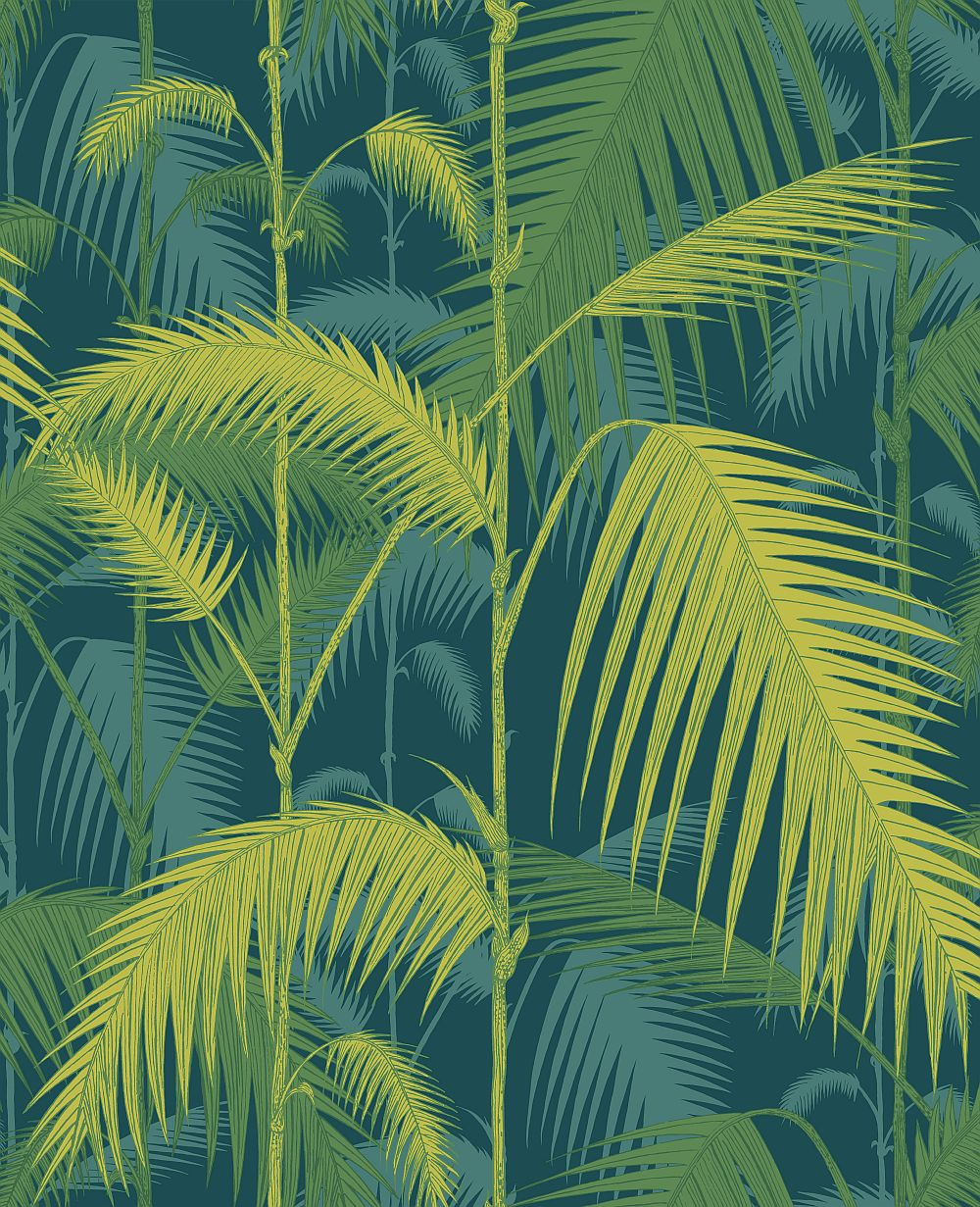 Cole & Son Palm Jungle Petrol and Lime Wallpaper main image
