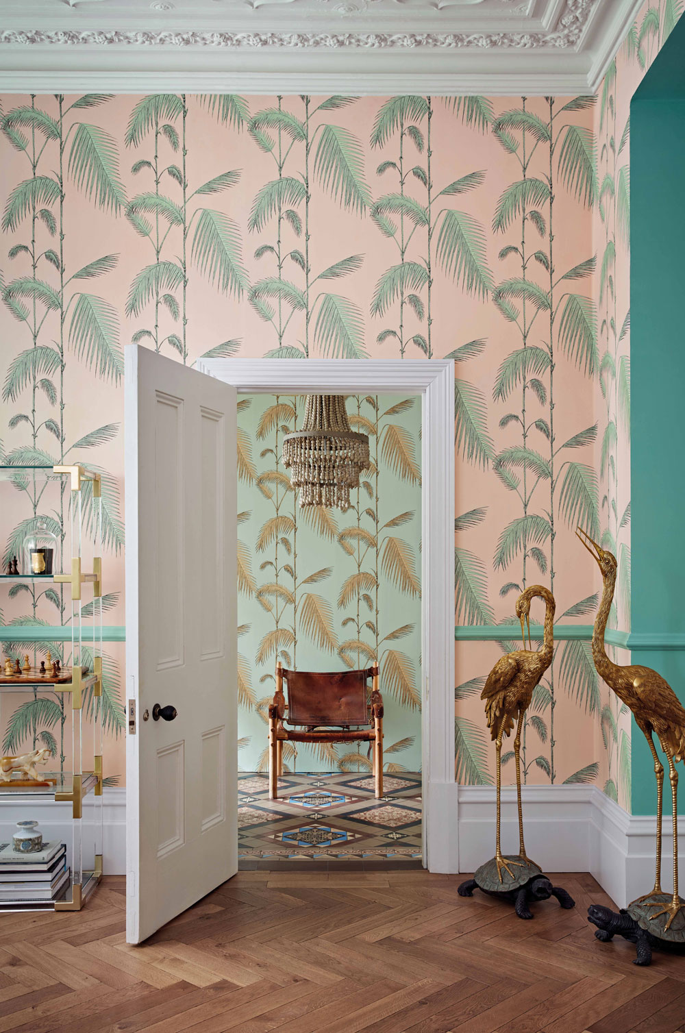 Cole & Son Palm Leaves Alabaster Pink and Mint Wallpaper extra image