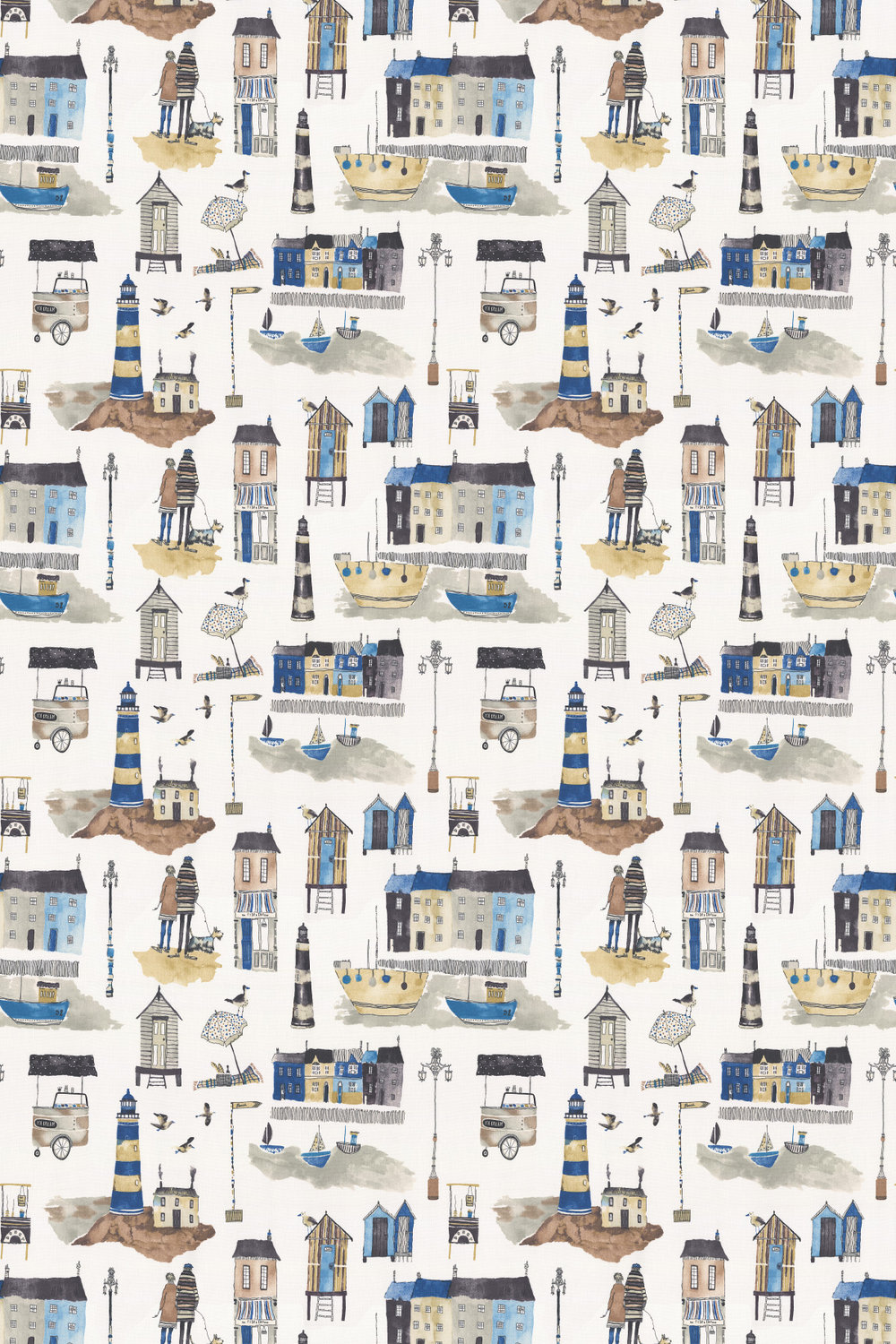 Seaside Fabric - Ocean - by Prestigious