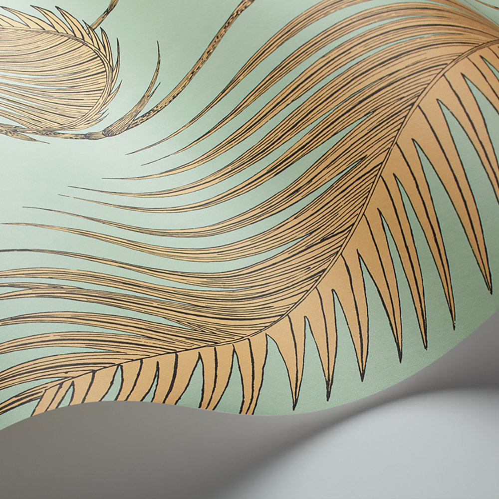 Palm Leaves Wallpaper - Mint and Sand - by Cole & Son