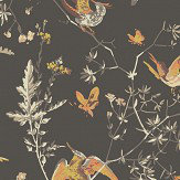 Cole & Son Hummingbirds Charcoal and Ginger Wallpaper