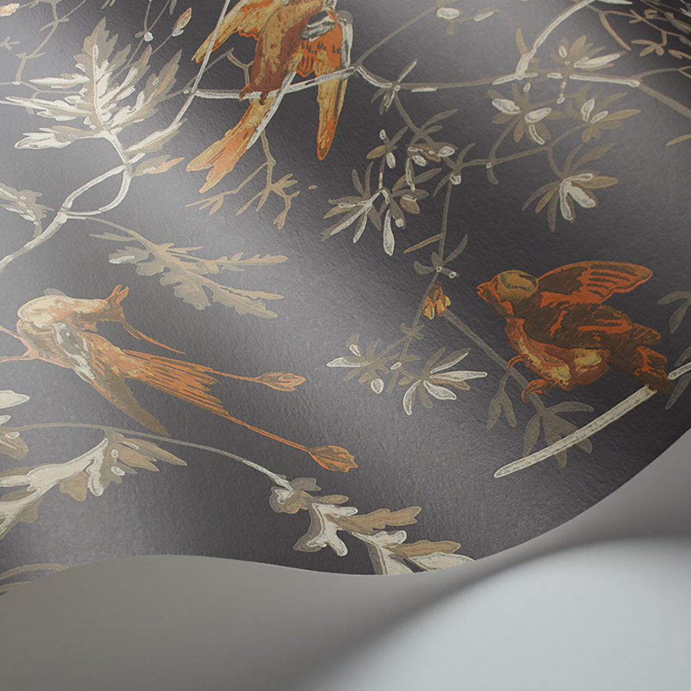 Cole & Son Hummingbirds Charcoal and Ginger Wallpaper extra image