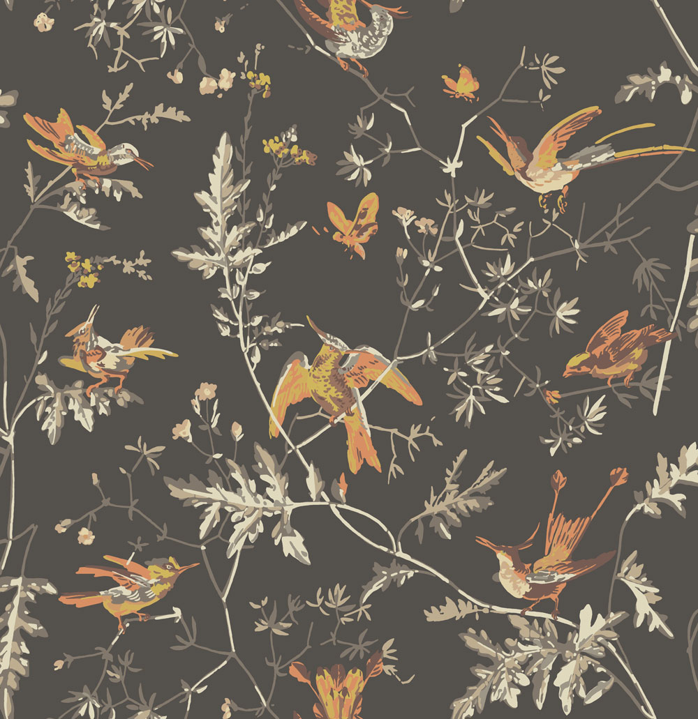 Cole & Son Hummingbirds Charcoal and Ginger Wallpaper main image