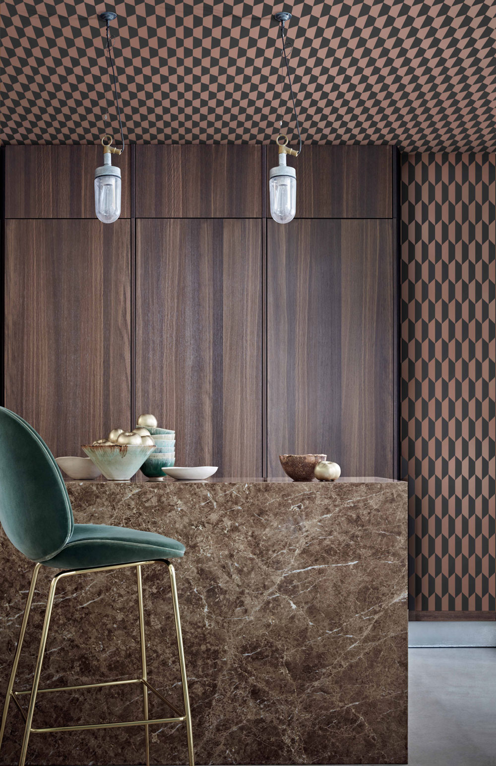 Cole & Son Petite Tile Charcoal and Bronze Wallpaper - Product code: 112/5022