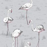 Cole & Son Flamingos Lilac Grey and Bronze Wallpaper