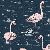 Cole & Son Flamingos Alabaster Pink and Ink Blue Wallpaper