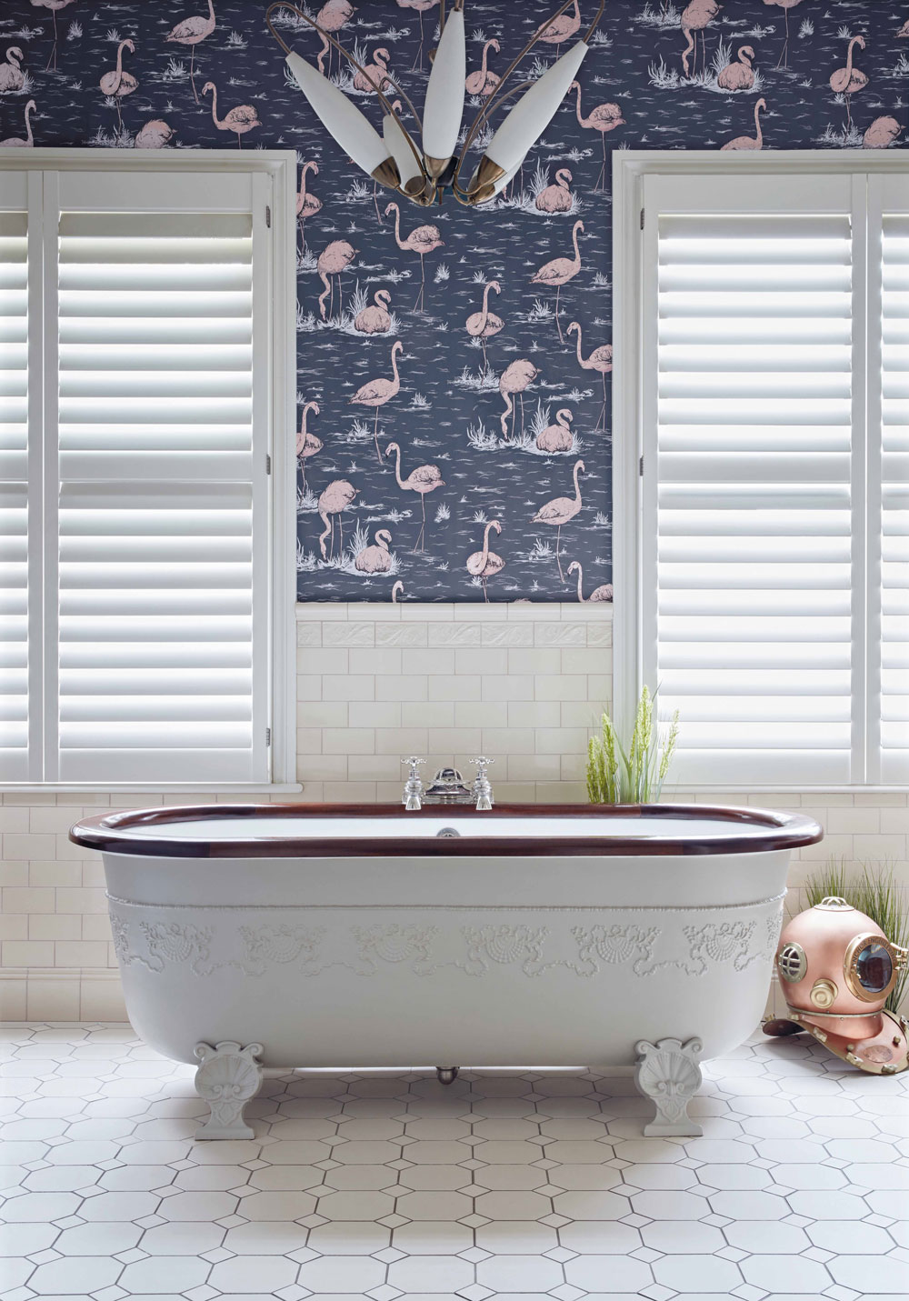 Cole & Son Flamingos Alabaster Pink and Ink Blue Wallpaper - Product code: 112/11041