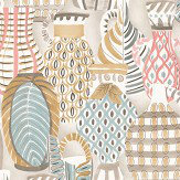 Nina Campbell Collioure Coral / Duck Egg / Gold Wallpaper