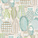 Nina Campbell Collioure Aqua / Green Wallpaper
